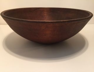 "Fantastic 19.  5"" Large Antique Early Wooden Turned Treen Primitive Wood Bowl"