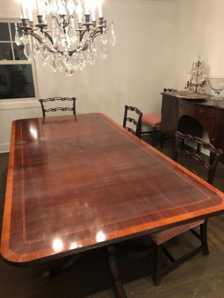 Mahogany Dining Room Table With Two Leaves,  Seats 12