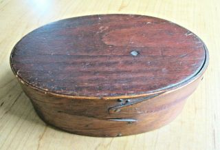 """Antique Wood Two Fingered Oval Pantry Box 5 3/4 """" X 2 """""""