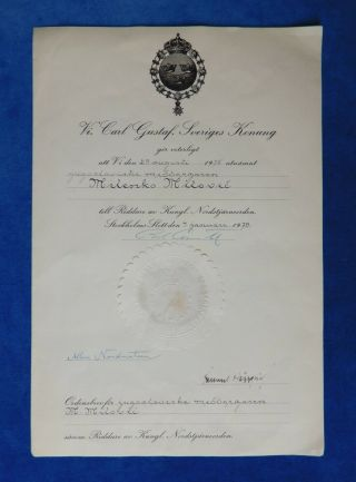 Sweden.  Document For Order Of The Pole Star,  Knight.  Medal
