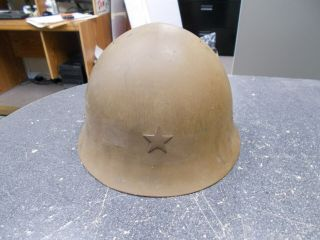 Japan Wwii Japanese Type 90 Combat Helmet W/ Liner Clothe Chinstraps