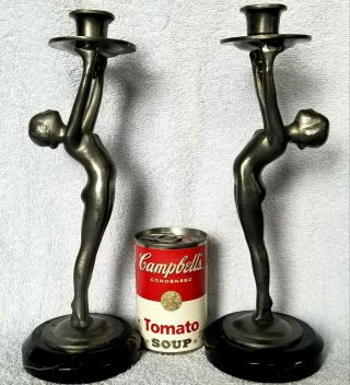 Pair Art Deco Nude Girl Pewter Candlesticks Marble Base Unknown Unmarked Old