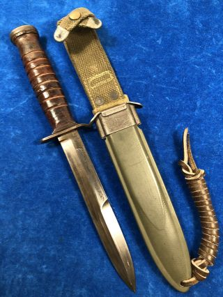 Ultra Rare Ww2 Us M3 Boker Blade Mark Dual Tang Trench Knife W M8 Sheath Wwii