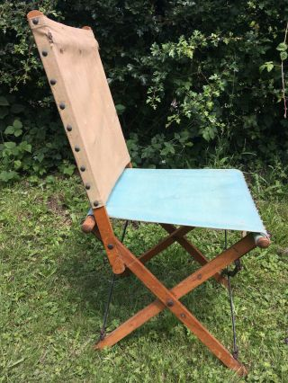 Antique Edwardian Campaign Chair Canvas Wood & Steel Folding Tent Camping 1910