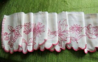French Antique Shelf Valance - Hand Embroidered Flowers,  Birds,  Dragonfly - Long