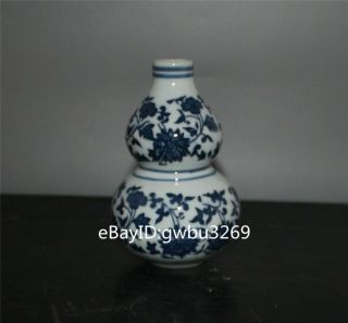 Rare Chinese Blue And White Porcelain Hand - Painted Flower Vase W Qianlong Marks