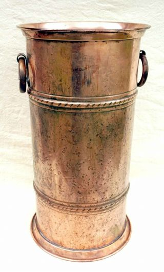 Vintage French Copper Large Cane Umbrella Stand Villedieu Normandy