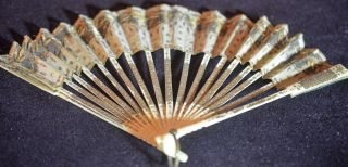 75 Off Antique Early 19 C French Silk Fan Gold Colored Hand Painted Rr575