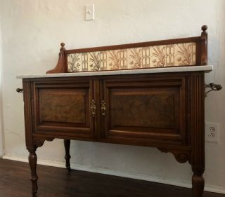 Antique Oak Buffet,  Carved Wood,  Casters And,  Marble Top