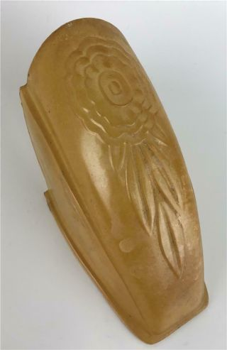 Puritan Art Deco Amber Feather Frosted Glass Slip On Replacement Shade - 2 Avail