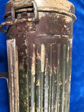 RARE WW2 GERMAN CAMOUFLAGE GAS MASK CANISTER w LABEL - VET PURCHASE 11