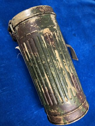 RARE WW2 GERMAN CAMOUFLAGE GAS MASK CANISTER w LABEL - VET PURCHASE 3