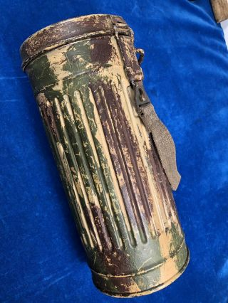 RARE WW2 GERMAN CAMOUFLAGE GAS MASK CANISTER w LABEL - VET PURCHASE 4