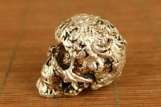 Old Copper Hand Carving Skull Statue Figure Hand Piece Home Decoration