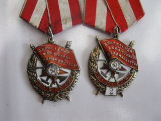 Russia Soviet Ussr Ordersof Red Banner And Second Order With Plaque2 Same Person