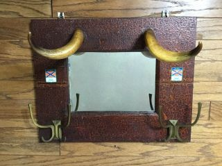 Antique Hat / Coat Rack With Mirror,  One Of A Kind.
