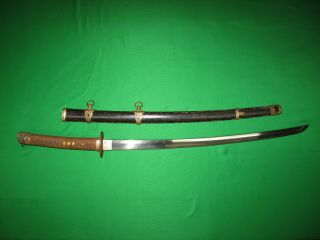 Japanese Ww2 Navy Sword With Anchor Stamped Tang
