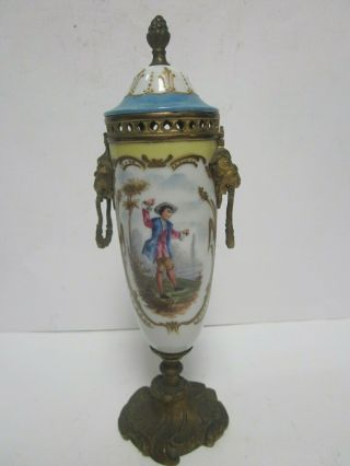 Antique Sevres Hand Painted Porcelain Urn Bronze Lion Head Handles Boy By River
