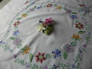 Vintage Hand Embroidered Linen Tablecloth Embroidered Jacobean/arts&crafts Style