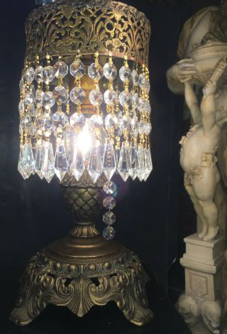 Fine Antique French Neoclassic Gilt Bronze Table Lamp W/ Austrian Crystals C1920