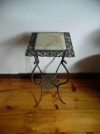 Antique French Louis Xv Pierced Brass And Onyx Plant Stand,  19th Century