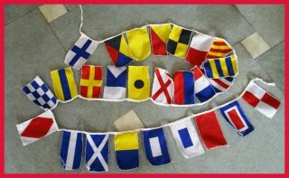 Marine Navy Signal Code Flag Set String Of 26 8 Ft Long Nautical/maritime/boat/y