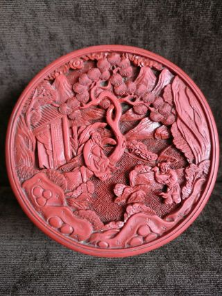 Antique Chinese Cinnabar Lacquer Circular And Cover Box