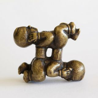 Chinese Antique Scholars Bronze Figural 'four Boys' Puzzle Weight,  Qing Dynasty