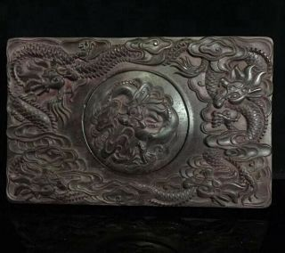 Collectable Old China Handwork Boxwood Carve Exorcism Dragon Exorcism Ink - Stone