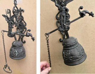 Antique French Large Bronze Wall Mount Door Bell W Pull Chain Hunter Gun Fox