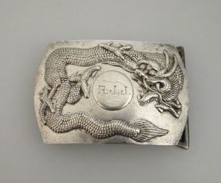 Chinese Sterling Silver Dragon Belt Buckle - 56588