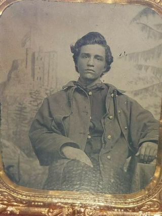 Rare Vintage 1860s Civil War Soldier Full Cased Image Great Expression