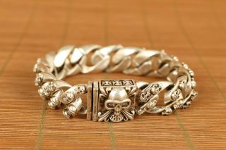Cool Old Tibet Miao Silver Hand Carving Skull Statue Bracelet Noble Gift