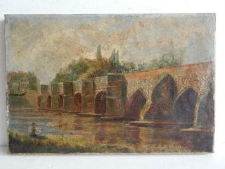 Really Old Painting Antique Oil River Fishing Bridge