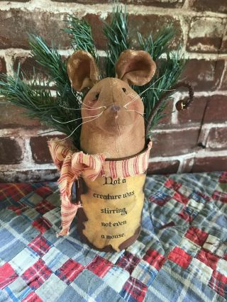 Primitive Folk Art Handmade Christmas Mouse Doll In A Rusty Can