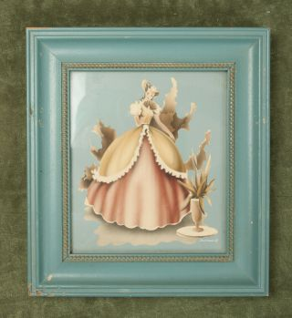 Victorian Lady Signed Turner Picture Mid Century (c3l) Framed Wall Art Decor