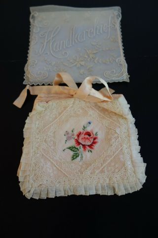 C.  1900 Ladies Pink Silk Boudoir Case W/rose,  Whitework Handkerchief Case