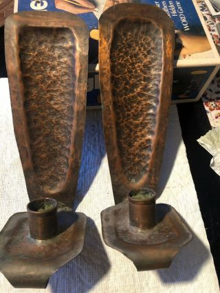 Vintage Arts And Crafts Hammered Copper Candle Wall Sconces 10""
