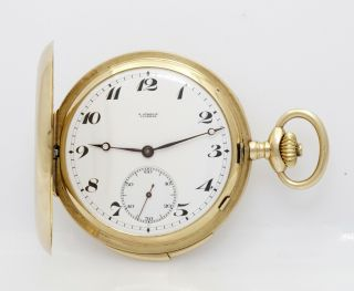 Rare Museum Quality Gubelin 52mm 1/4 Hour Repeater 52mm 14k Gold Pocket Watch