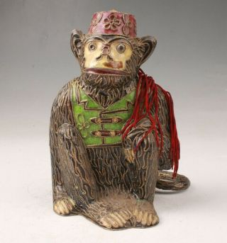 Precious Chinese Cloisonne Enamel Hand - Carved Monkey Statue Pendant