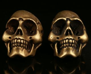 2 Chinese Brass Hand Carving Skull Statue Cool Decorative Collec