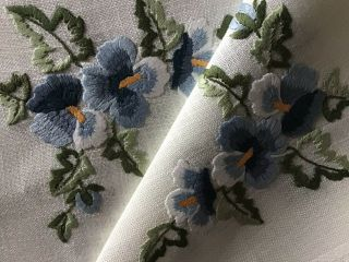 Vintage Hand Embroidered Tablecloth Blue Pansies