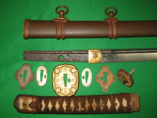 Japanese Pre WW2 Army Sword with Old Blade and Familie Mon 10
