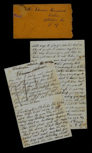 189th York Infantry Civil War Letter - Mustered,  Getting Guns Washington Dc