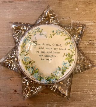 Antique Vintage Star - Shaped Glass Heptagram Paperweight Bible Verse Psalm 139:23