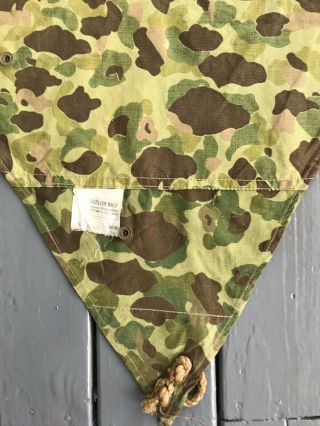 """Ww2 Earliest Usmc Camouflage Shelter Half With Tag """"powers & Co.  - 1942"""""""