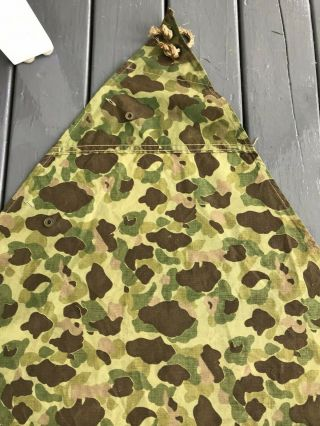 "WW2 Earliest USMC Camouflage Shelter Half with TAG ""POWERS & CO.  - 1942"" 6"