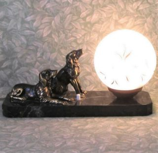 Vintage French Marble Art Deco Table Mood Lamp Bronzed Spaniel Dogs Orig Globe