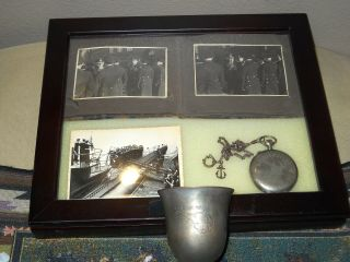 U - 91 Set.  Engraved Watch,  Photo Album,  Presented By Ace,  W/ Bring Back Certificate
