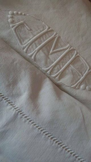 Antique French Embroidered Pure Linen Trousseau Sheet Monogram Jma